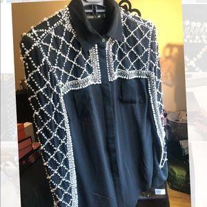 Balmain H&M Collab blouse with embellishment